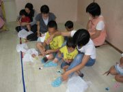 Childcare visit was carried out in July, we made a bamboo decorations together with everyone