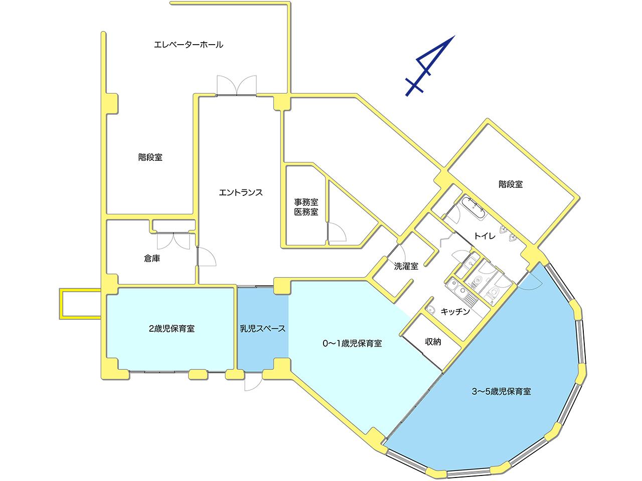 高洲マミー保育園 見取り図 1F